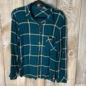 Sanctuary Green Plaid Button Down Shirt M